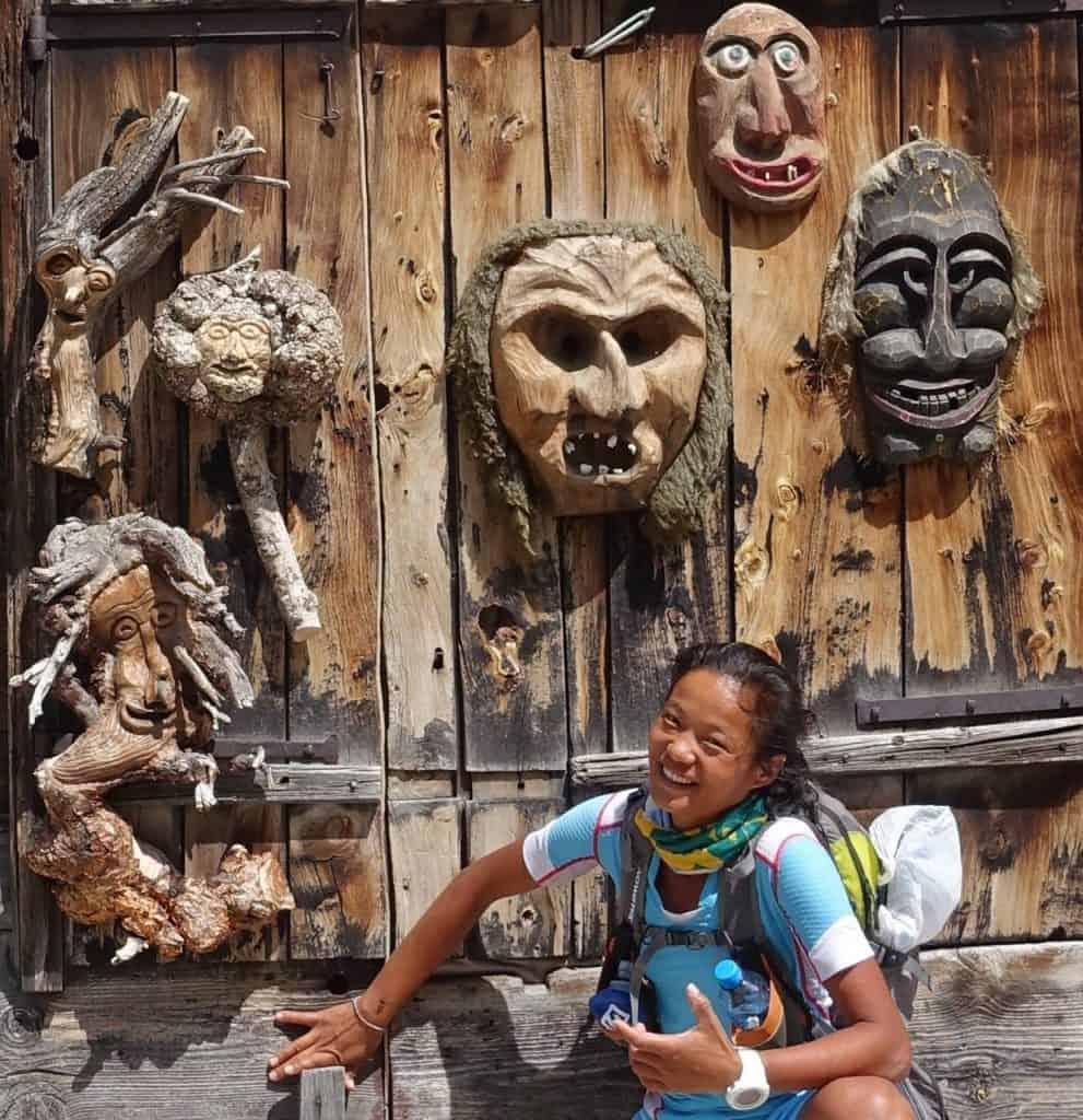 Faces. On a doorway in Saas Fee!